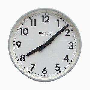 Reloj de pared industrial francés de Brillié, años 50