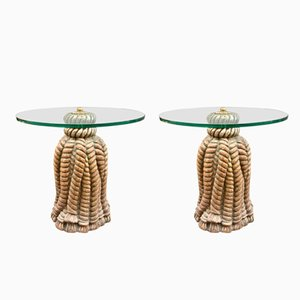 Vintage Coffee Tables with Tassel Bases, Set of 2