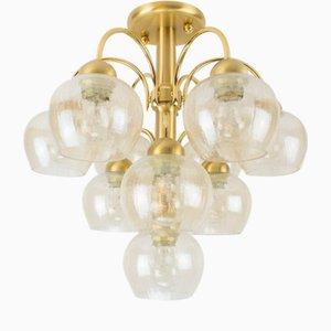 Lámpara colgante de vidrio estructural de 10 luces, años 60