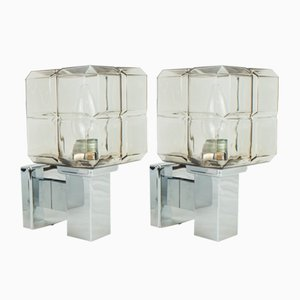 Cubic Chrome & Glass Wall Lights from Hillebrand, 1970s, Set of 2