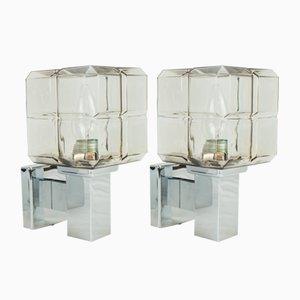 Luces de pare cúbicas de cromo y vidrio de Hillebrand, años 70. Juego de 2