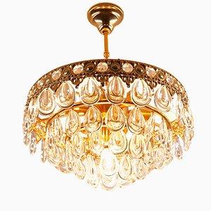 Lámpara de araña vintage con cristales en forma de gota de Palwa