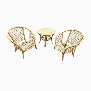 French Rattan Chair & Table Set, 1970s, Set of 3