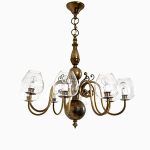 Italian Brass & Blown Glass Chandelier, 1960s
