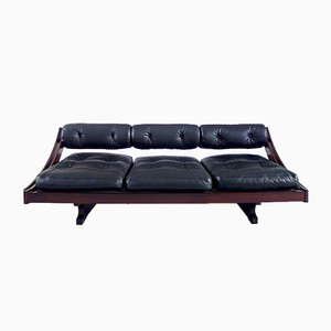 Vintage Model GS-195 Black Leather Daybed by Gianni Songia for Luigi Sormani