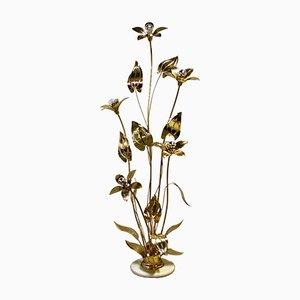 Vintage Regency Brass Flower Floor Lamp, 1970s