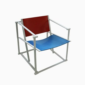 FM60 Easy Chair in Red & Blue by Radboud van Beekum for Pastoe, 1980s