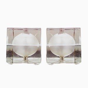 Vintage Cubosfera Tischlampen von Alessandro Mendini für Fidenza Vitraria, 2er Set