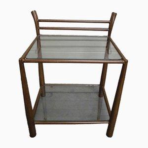 Mesa auxiliar de metal y vidrio, años 70