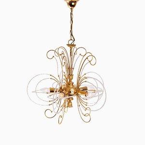 Lámpara de araña vintage de vidrio y latón chapado en oro, años 70