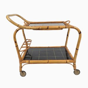 Rattan Trolley with Removable Tray, 1960s
