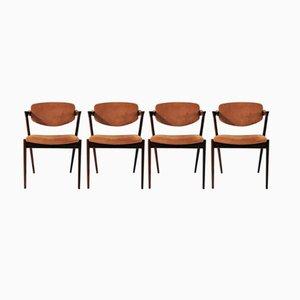 Chaises de Salon Modèle 42 en Palissandre par Kai Kristiansen pour Schou Andersen, Set de 4