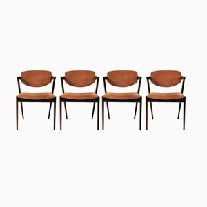 Model 42 Rosewood Dining Chairs by Kai Kristiansen for Schou Andersen, Set of 4