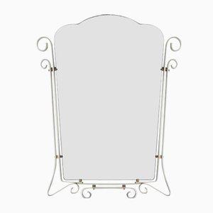 Espejo belga vintage con marco de aluminio