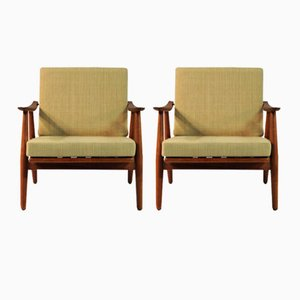Modell 240 Cigar Sessel von H.J. Wegner für Getama, 1950er, 2er Set