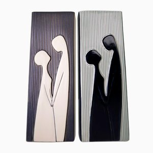 Danish Modern Relief Vases by Svend Aage Holm Sorensen for Soholm, 1958, Set of 2
