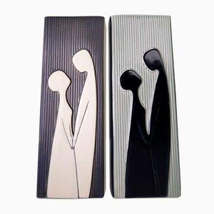 Vasi moderni con bassorilievi di Svend Aage Holm Sorensen per Soholm, Danimarca, 1958, set di 2