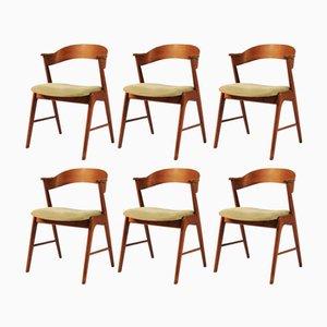 Model 32 Teak Dining Chairs by Kai Kristiansen for Shou Andersen, 1960s, Set of 6
