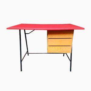 Bureau avec Plateau en Vinyle Rouge, France, 1960s