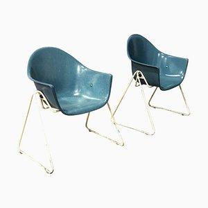 Glasfaser Kinderstühle mit Metallfuß, 1960er, 2er Set