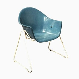 Fiberglass Children's Chair with Metal Base, 1970s