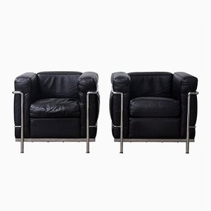 LC2 Easy Chairs by Le Corbusier for Cassina, 1980s, Set of 2