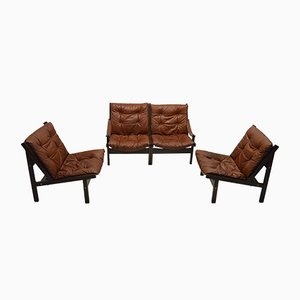Leather Living Room Set by Torbjørn Afdal for Bruksbo, 1960s