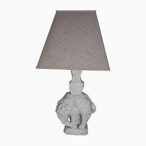 Lámpara de mesa elefante de cerámica, años 50
