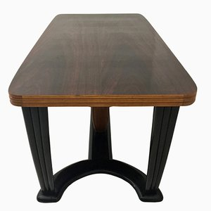 Mahogany and Ebonized Wood Dining Table with Black Opaline Glass Top, 1940s