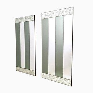 Specchi da parete rettangolari a strisce, anni '70, set di 2