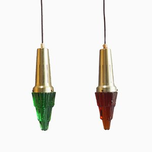 Colored Crystal & Brass Ice Pendants from Vitrika, Set of 2