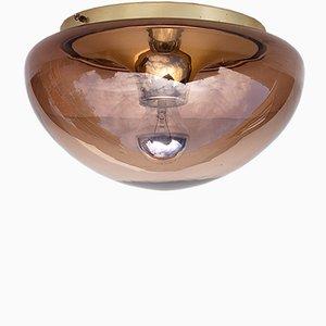 Vintage Glaskuppel Deckenlampe, 1970er