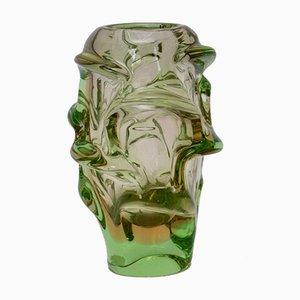 Jarrón checo vintage de vidrio de Jan Beranek para Skrdlovice, años 60