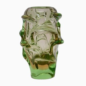 Vintage Czech Glass Vase by Jan Beranek for Skrdlovice, 1950s