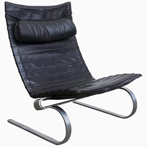 PK 20 Rocking Chair in Black Leather by Poul Kjaerholm for E. Kold Kristensen, 1967