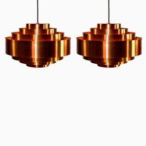 Lámparas colgantes Ultra de cobre de Jo Hammerborg para Fog & Mørup, años 60. Juego de 2