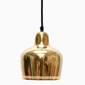Lampada da soffitto A330S vintage a forma di campana dorata di Alvar Aalto per Artek