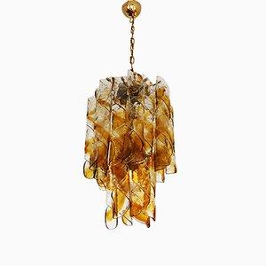 Lámpara colgante italiana de cristal de Murano en ámbar de Mazzega, años 60