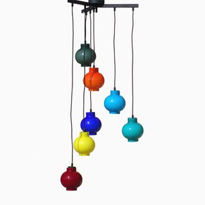 Italian Colored Glass Ceiling Lamp, 1950s