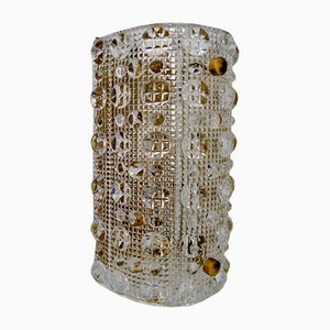 Mid-Century Glass & Brass Wall Sconce by Carl Fagerlund for Orrefors