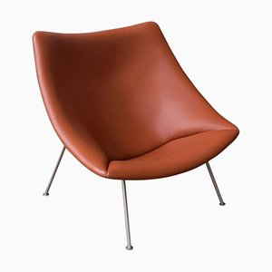 F157 Brown Leather Easy Chair by Pierre Paulin, 1959