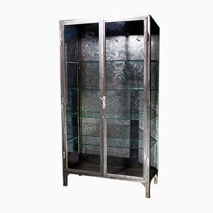 Vintage Polished Steel Medical Cabinet, 1920s