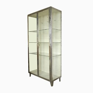 Vintage Polished Steel White Medical Cabinet, 1920s