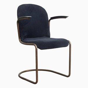 Chaise en Velours Côtelé Bleu par W.H. Gispen pour Gipsen, 1930s