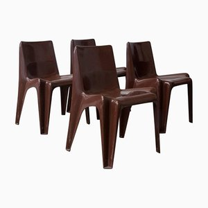 Mid-Century Brown Chairs by Vico Magistretti for Artemide, 1969, Set of 4