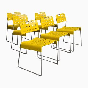 Yellow Omstak Stacking Chairs by Rodney Kinsman, 1971, Set of 6