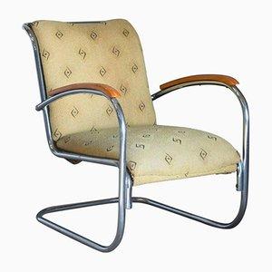 Vintage Stahlrohr Sessel mit Stoffbezug, 1930er