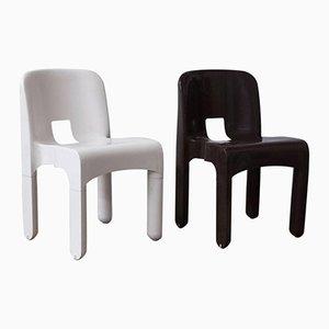 Chaise Vintage en Plastique Brun Chocolat et Blanc Type 4867, Set de 2 chaises