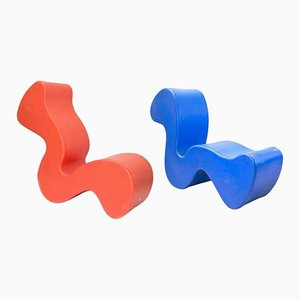 Orange & Blue Chairs by Verner Panton, Set of 2