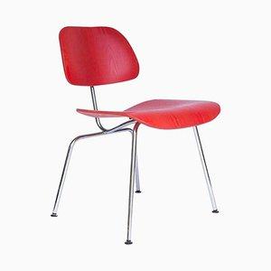 Poltrona DCM vintage rossa di Charles & Ray Eames per Vitra